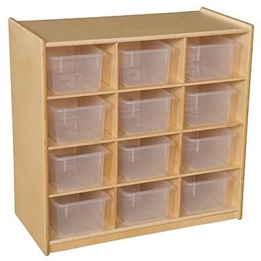 Wood Designs 30''H x 30''W x 15''D Mobile Twelve Cubby Storage Unit with Translucent Trays (16121)