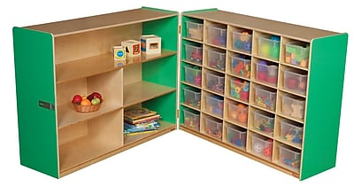Wood Designs 38''H x 48''W x 30''D Mobile Half & Half Storage with 25 Translucent Trays (23631G)