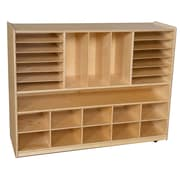 Wood Designs 49''H x 58''W x 15''D Five Section Locker and Communication Center with Translucent Trays (990096CT)