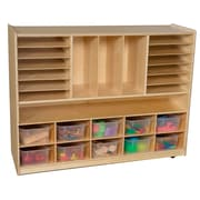 Wood Designs 38''H x 48''W x 15''D Mobile Divided Storage with Translucent Trays (990202CT)