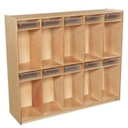 Wood Designs 49''H x 58''W x 15''D Space-Saving Ten Section Locker with Translucent Trays (990314CT)