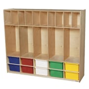 Wood Designs 49''H x 58''W x 15''D Five Section Locker with Cubbies - Assorted Trays (990316AT)