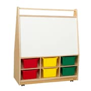 Wood Designs 44''H x 36''W x 15''D  Mobile Literacy Display with Assorted Trays(990321AT)