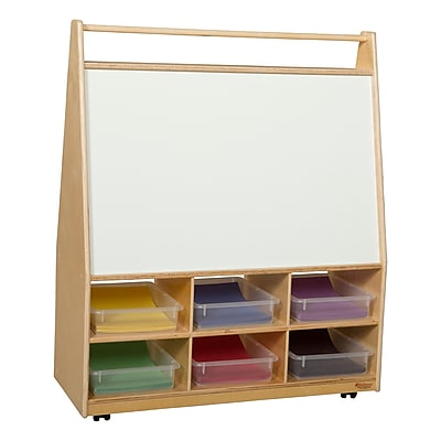 Wood Designs 44''H x 36''W x 15''D Mobile Literacy Display withTranslucent Trays (990321CT)