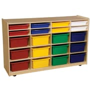 Wood Designs 30''H x 48''W x 15''D Mobile Multi Bin Storage with Assorted Trays (990330AT)