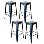"AmeriHome Loft  30"" Metal Bar Stool with Wood Seat Gun Metal Silver 4 Piece Set (300323)"