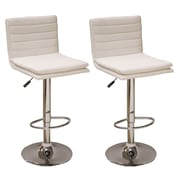 "AmeriHome 32"" Modern Ripple Back Bar Stool White 2 Piece Set (300336)"