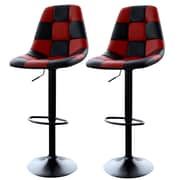 "AmeriHome 33"" Checkered Racing Bar Chairs Red/Black 2 Piece Set (300342)"
