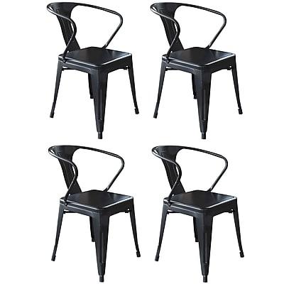 AmeriHome Loft Metal/Wood Dining Chair Glossy Black Set of 4 (300361)
