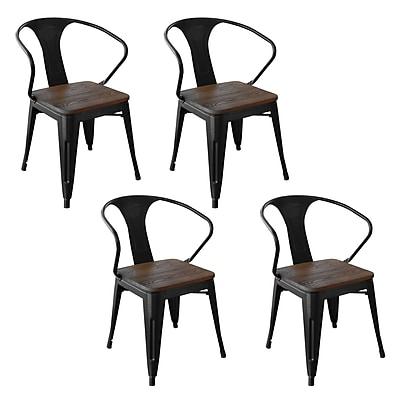 AmeriHome Loft Metal/Wood Dining Chair Black Set of 4 (300362)