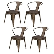 AmeriHome Loft Metal/Wood Dining Chair Gunmetal Silver Set of 4 (300363)