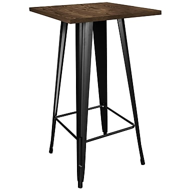 AmeriHome Loft Black Metal Pub Table with Wood Top (300394)