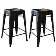 "AmeriHome Loft  24"" Metal Bar Stool Black 2 Piece Set (BS24BLK)"