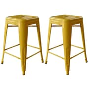 "AmeriHome Loft  24"" Metal Bar Stool Yellow 2 Piece Set (BS24GOLD)"