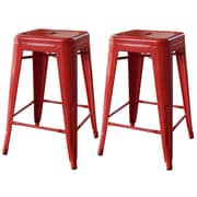"AmeriHome Loft  24"" Metal Bar Stool Red 2 Piece Set (BS24RED)"