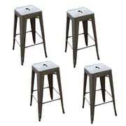 "AmeriHome Loft  30"" Metal Bar Stool Gun Metal Silver 4 Piece Set (BSMETALSET)"
