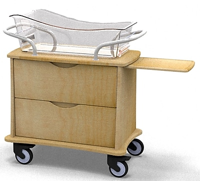 MedViron Hospital Maternity Bassinet, 2-Drawers, with Chartboard, Fusion Maple (M21-0010-K050)