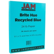 """JAM Paper® Bright Color Paper - 8.5"""" x 11"""" - 24 lb Brite Hue Blue Recycled - 50/pack"""