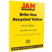 "JAM Paper® Bright Color Paper - 8.5"" x 11"" - 24lb Brite Hue Yellow - 50/pack"