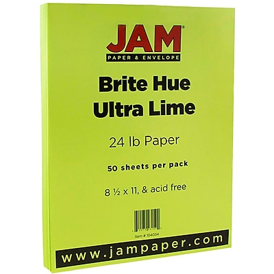 """""JAM Paper Bright Color Paper - 8.5"""""""" x 11"""""""" - 24 lb Brite Hue Ultra Lime Green - 50/pack"""""" 2329664"