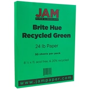 """JAM Paper® 8 1/2"""" x 11"""" Paper, Green 24lb Brite Hue Recycled, 50/Pack (104083A)"""