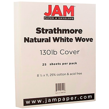 JAM Paper® Extra Heavy Stiff Strathmore Cardstock, 8.5 x 11, 130lb Natural White Wove, 25/pack (1196724)
