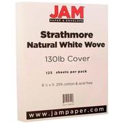 JAM PaperMD –Papier couverture cartonné Strathmore fini vélin extra rigide, 8 1/2 x 11 po, blanc naturel, 125 feuilles/rame