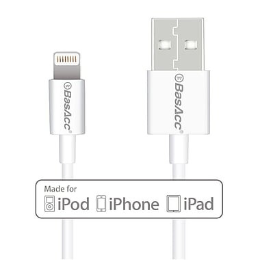 BasAcc Apple MFi Certified Lightning USB Cable, iPhone 6 6S Plus SE 5 5s 5c iPad Pro Air 2 1 Mini 4th 3rd 2nd, White (2105796)