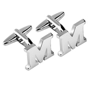 "Zodaca Men's Initial ""M"" Alphabet Letter Silver Copper Cufflinks Fathers Day Wedding Birthday Party (2128899)"