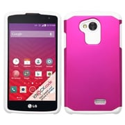 Insten Hard Hybrid Rugged Shockproof Rubberized Silicone Cover Case For LG Optimus F60 - Hot Pink/White (2068631)