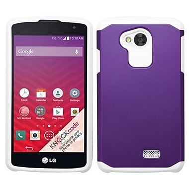 Insten Hard Hybrid Rugged Shockproof Rubber Coated Silicone Case For LG Optimus F60 - Purple/White (2068632)