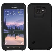 Insten Hard Hybrid Rubber Coated Silicone Case For Samsung Galaxy S6 Active - Black (2124103)