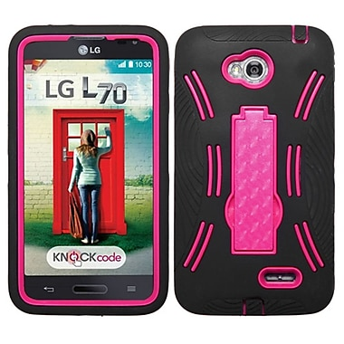 Insten Symbiosis Hybrid Hard Stand Case Cover For LG Optimus L70 MS323 Exceed 2 VS450PP Verizon - Hot Pink/Black (1860856)