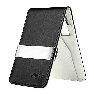 Zodaca Mens Faux Genuine Leather Silver Money Clip Wallets ID Credit Card Holder, Black/White (1885901)