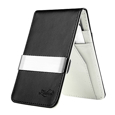 Zodaca Mens Faux Genuine Leather Silver Money Clip Wallets ID Credit Card Holder - Black/White (1885901)