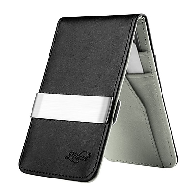 Zodaca Mens Faux Genuine Leather Silver Money Clip Wallets ID Credit Card Holder - Black/Gray (1885902)