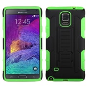 Insten Hard Hybrid Rugged Shockproof Case with Stand For Samsung Galaxy Note 4 - Black/Green (1999424)
