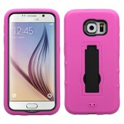 Insten Symbiosis Skin Hybrid Rubber Hard Cover Case with Stand For Samsung Galaxy S6 - Hot Pink/Black (2091759)