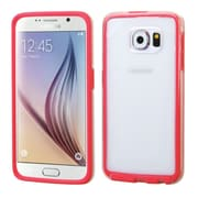 Insten Rubber Cover Case For Samsung Galaxy S6 - Clear/Red (2107729)