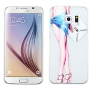 Insten Lady with Long Legs Hard Rubber Coated Case For Samsung Galaxy S6 - White/Blue (2121006)