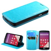 Insten Folio Leather Fabric Case w/stand/card slot For LG Tribute - Blue (2011493)