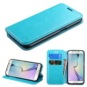 Insten Book-Style Leather Fabric Cover Case w/stand/card slot For Samsung Galaxy S6 Edge - Blue (2091738)