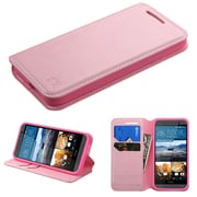 Insten Book-Style Leather Fabric Case w/stand/card slot For HTC One M9 - Pink (2091992)
