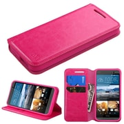 Insten Flip Leather Fabric Case w/stand/card holder For HTC One M9 - Hot Pink (2091993)