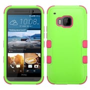 Insten Hard Hybrid Rugged Shockproof Rubberized Silicone Cover Case For HTC One M9 - Green/Hot Pink (2092000)