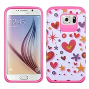 Insten Heart Graffiti Hard Hybrid Rubber Coated Silicone Cover Case For Samsung Galaxy S6 - Hot Pink/White (2092079)