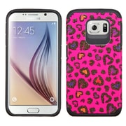 Insten Leopard Hard Dual Layer Rubber Silicone Case For Samsung Galaxy S6 - Hot Pink/Black (2092080)