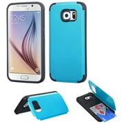 Insten Hard Silicone Cover Case w/card holder For Samsung Galaxy S6 - Teal Green/Black (2101392)