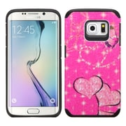 Insten Butterfly/Heart Armor Hard Dual Layer Rubber Silicone Case For Samsung Galaxy S6 Edge - Hot Pink (2112748)