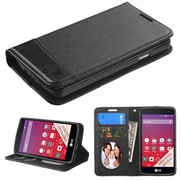Insten Folio Leather Fabric Case w/stand/card slot/Photo Display For LG Optimus F60 - Black (2121071)